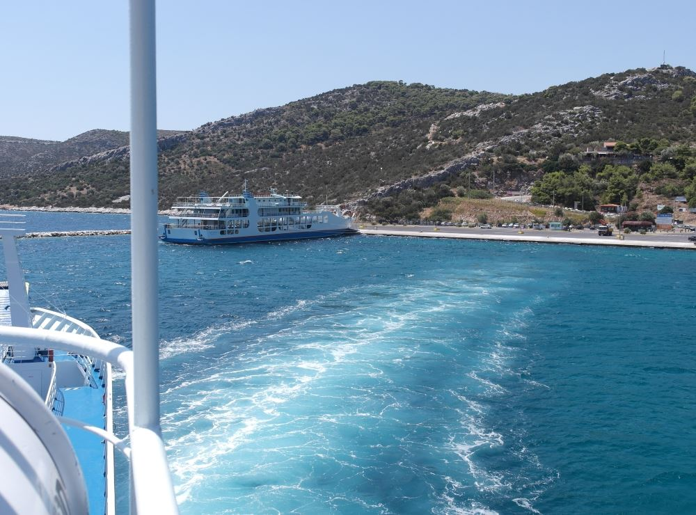 Taking off from Agia Marina port