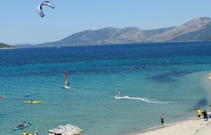 kite surfing in the coastline of south Evia Island